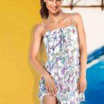 Kelebek Desenli Askılı Plaj Elbisesi