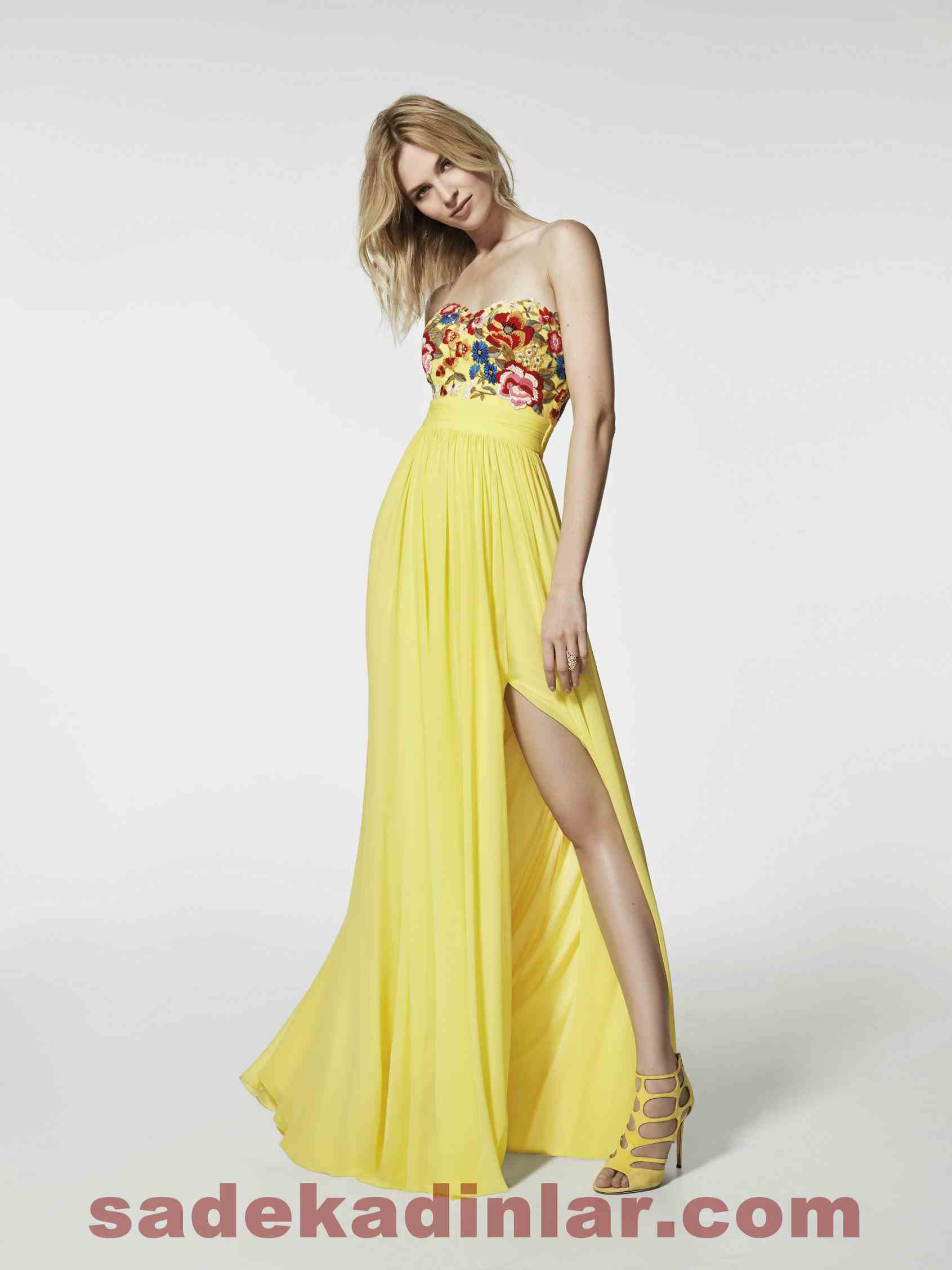c0774c3d77269 Pronovias Abiye Modelleri 2018 dökümlü uzun seksi Sarı abiye elbise ...