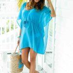 V Yaka Beli Büzgülü Mavi Plaj Elbisesi