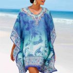 V yaka transparan Yakası taş detaylı Pareo Plaj Elbisesi