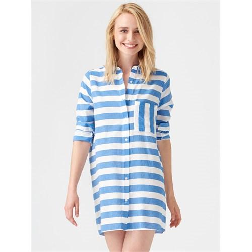 Yatay Çizgili Gömlek Elbise Modelleri