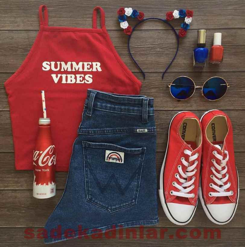 Yazlık Kombinler Şık Kıyafet Kombinleri Cazibeli Kırmızı 2018