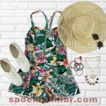 Yazlık Kombinler Şık Kıyafet Kombinleri Desenli Mini Elbise 2019