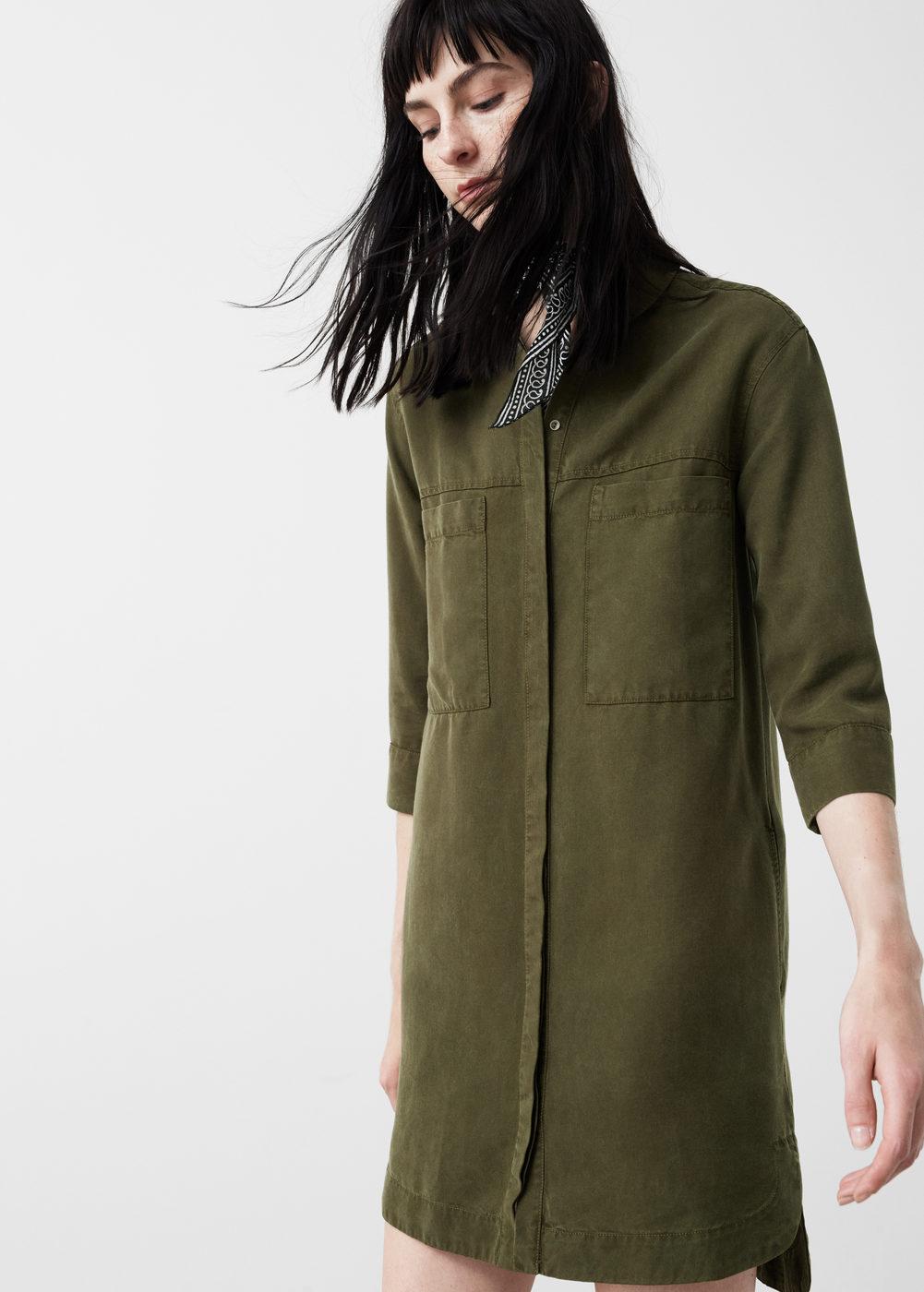 Yumuşak kumaştan asker yeşili gömlek elbise modelleri