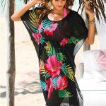 Çiçek Desenli Büzgülü Plaj Elbisesi Tunik