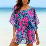 Çiçek Desenli Yakası Taş Detaylı Plaj Elbisesi Pareo