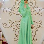 En Güzel Tesettür Abiye Modelleri mint yeşili