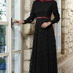 En Güzel Tesettür Abiye Modelleri siyah dantel