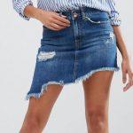 Erkeklerin Dikkatini Çeken Mini Etek Modelleri - River Island Distressed Angled Hem Denim Skirt