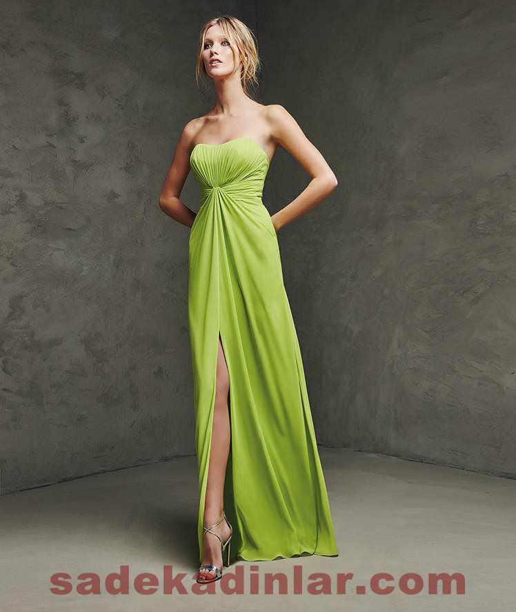 Fıstık yeşili Uzun Abiye Modelleri 2018