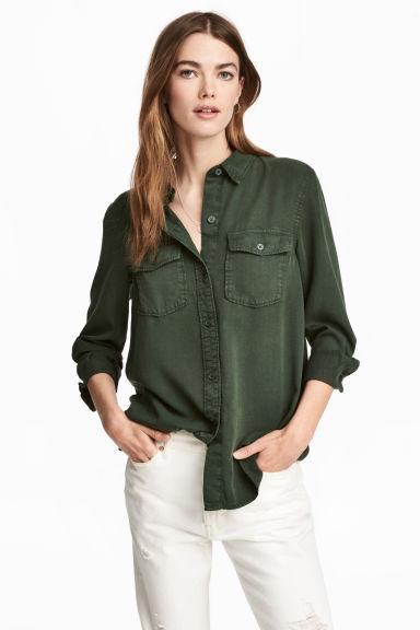 H&M 2017 Sokak Modası Trendleri - Yeşil Gömlek