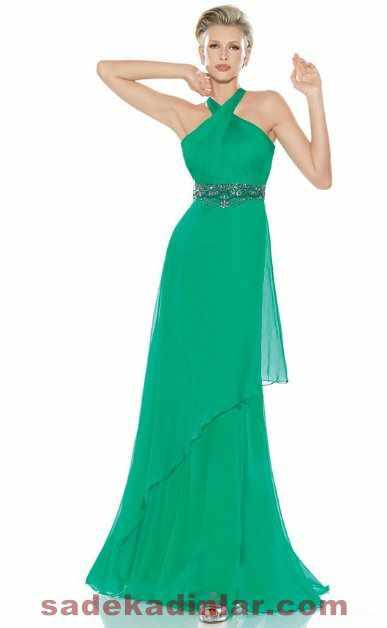 yeşil renk uzun abiye modelleri 2018