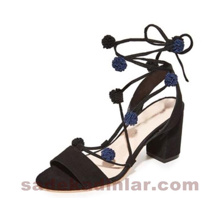 Abiye Ayakkabı Siyah Ponponlu Yüksek Touklu Ayakkabı 2018 Abiye İçin