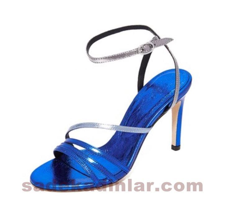 Abiye Ayakkabı Yüksek Topuklu Ayakkabı 2018 Metalik Mavi Şık Abiye İçin