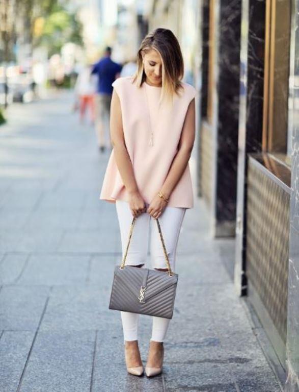 Beyaz Pantolon Kombinleri Pudra Bluz