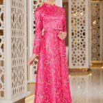 Son Moda Fuşya Tesettür Abiye Elbise Modelleri 2021