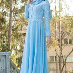 Son Moda Gök Mavisi Tesettür Abiye Modelleri Dantel İşlemeli 2021