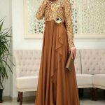 Son Moda Hardal Tesettür Abiye Elbise Modelleri 2021