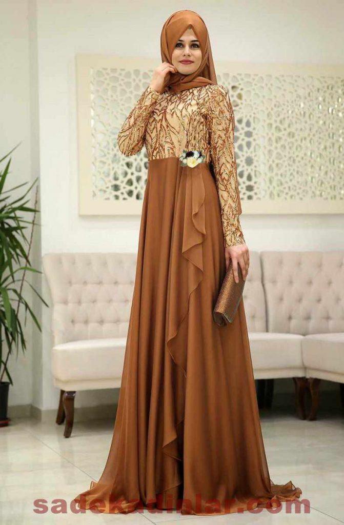 Son Moda Hardal Tesettür Abiye Elbise Modelleri 2019 - 2020