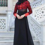 Son Moda Kadife Siyah Narçiçeği Tesettür Abiye Modelleri 2021