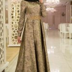 Son Moda Kemerli Gold Tesettür Abiye Modelleri 2021 & 2022