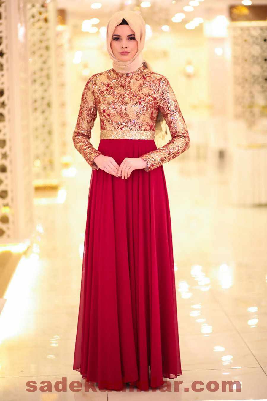 336a183c1404d Son Moda Kırmızı Tesettür Abiye Modelleri 2019 - 2020 Parlak Payetli ...