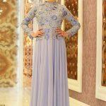 Son Moda Lila Tesettür Abiye Modelleri 2021 & 2022 Nakıi İşlemeli