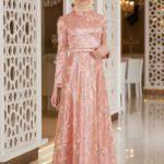 Son Moda Pudra Tesettür Abiye Modelleri 2021 & 2022 Nakış İşlemeli