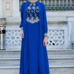 Son Moda Saks Mavi Tesettür Abiye Modelleri 2021 & 2022