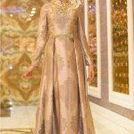 Son Moda İnci İşlemeli Bej Tesettür Abiye Modelleri 2021