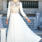 Son Moda İşlemeli Beyaz Tesettür Abiye Modelleri 2021