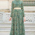 Son Moda İşlemeli Yeşil Tesettür Abiye Modelleri 2019 - 2020