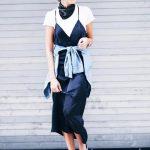 Yeni Moda V Yaka Askılı Elbise Kombinleri tisort 5
