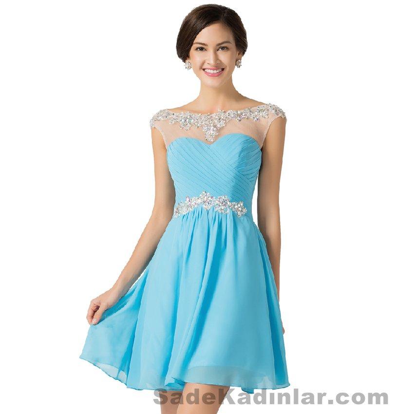 2021 Abiye Modelleri Kısa Gece Elbiseleri mavi kısa beyaz tül işlemeli