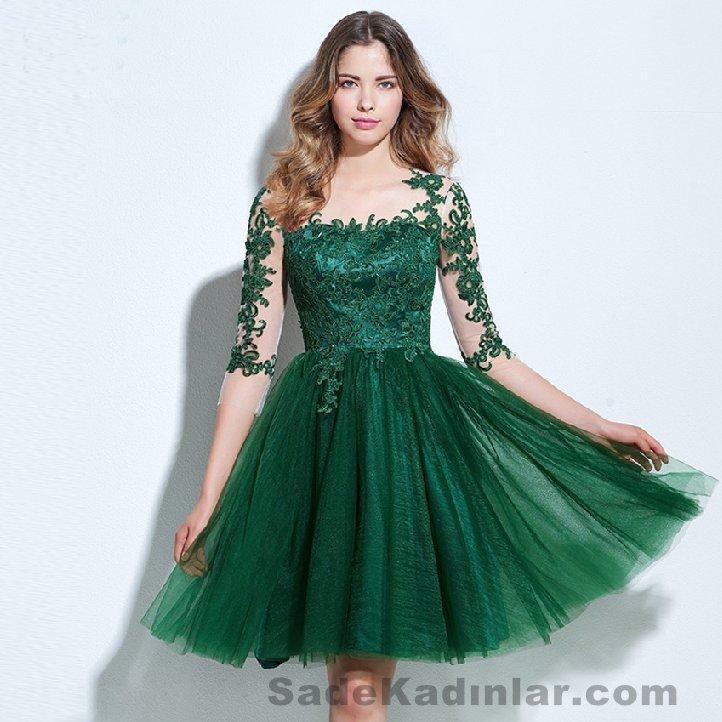 2021 Abiye Modelleri Kısa Gece Elbiseleri yeşil kısa üstü dantel işlemeli etekleri kabarık tüllü model