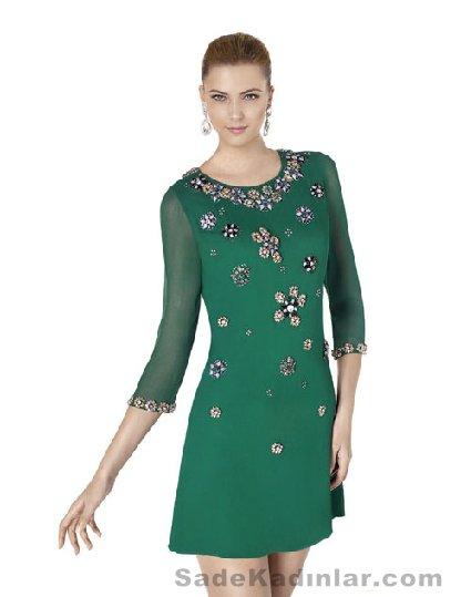 2021 Abiye Modelleri Kısa Gece Elbiseleri yeşil kısa uzun kollu boncuk işlemeli