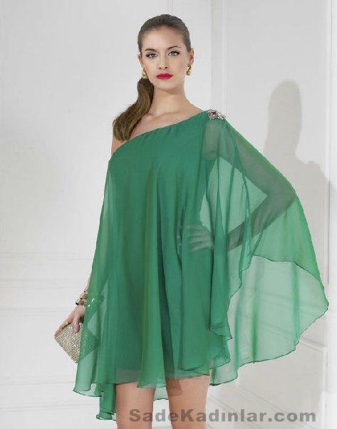 Abiye Modelleri 2021 Kısa Gece Elbiseleri yeşil kısa tül kaplı model