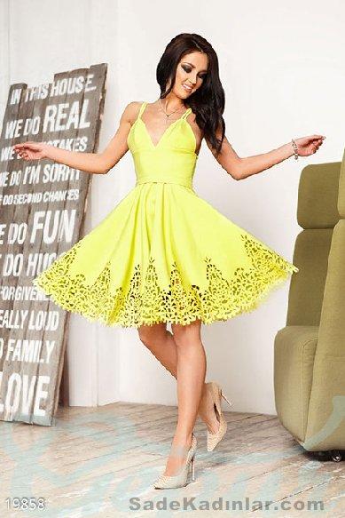 Abiye Modelleri 2021 Kısa Gece Elbiseleri sarı kısa ince askılı etekleri delikli model