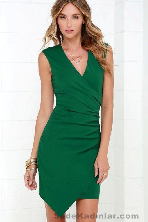 Abiye Modelleri 2021 Kısa Gece Elbiseleri yeşil mini v yakalı sade ve şık kesim