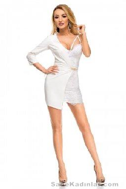 Abiye Modelleri Kısa Gece Elbiseleri beyaz kısa asimetrik kesimli model