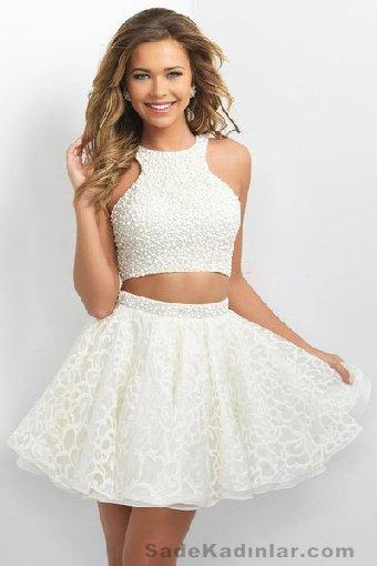 Abiye Modelleri Kısa Gece Elbiseleri beyaz kısa göbeği açık model
