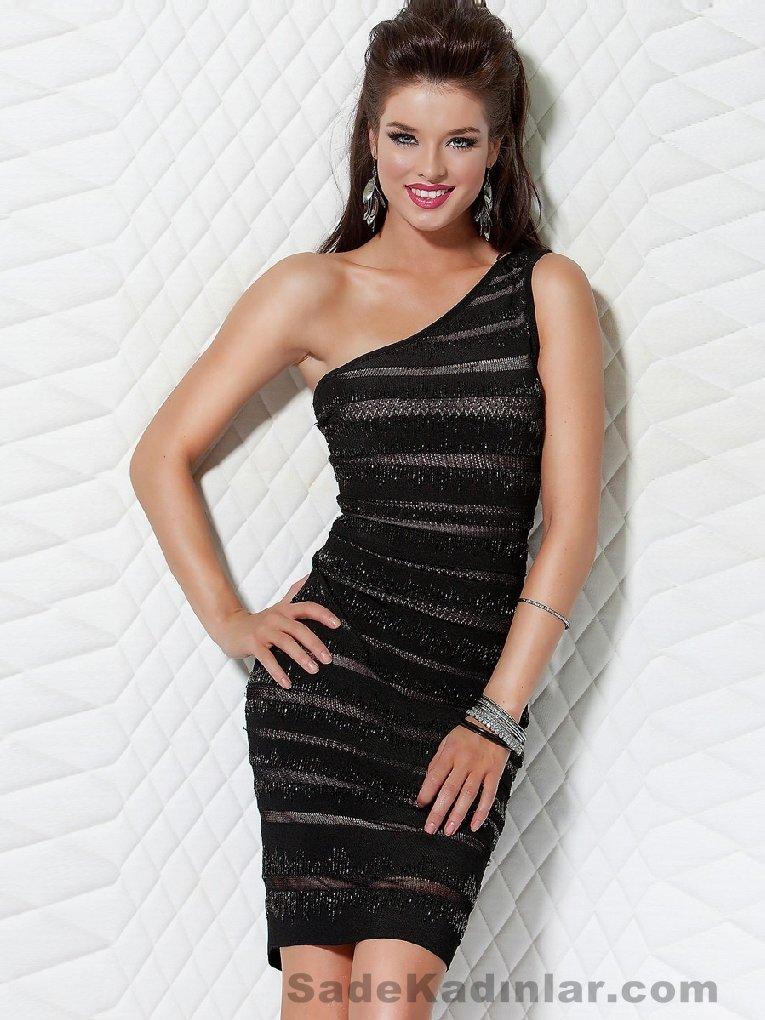 Abiye Modelleri Kısa Gece Elbiseleri siyah kısa tek kollu çizgili kumaşlı