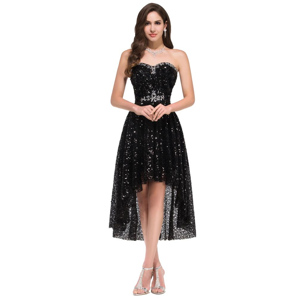 Siyah Elbise Kombinleri 2019 Abiye Modelleri siyah kısa straplez pul paytli çok şık model