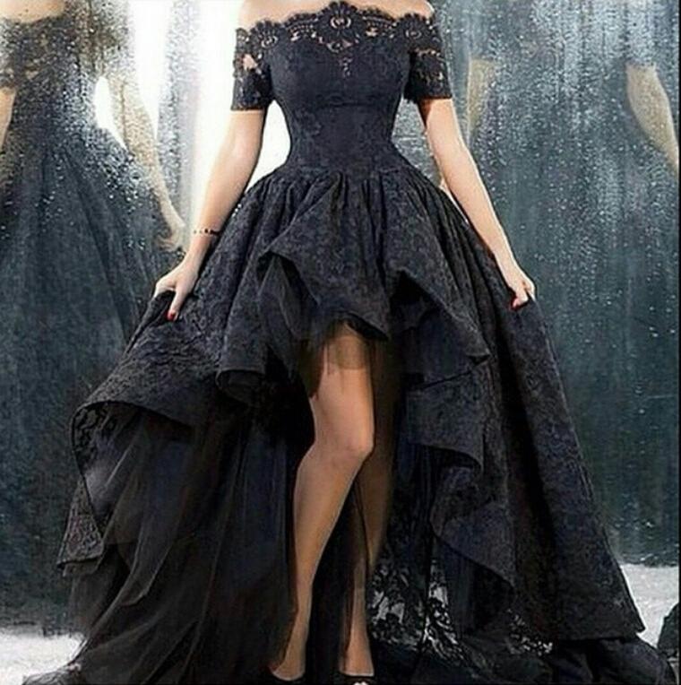 Gothic Black Wedding Dresses Plus Size Ball Gowns Puffy: Siyah Elbise Kombinleri 2019 Abiye Modelleri Siyah önü