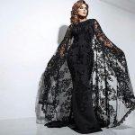 Siyah Elbise Kombinleri 2019 Abiye Modelleri siyah renkli uzun balık model üzeri komple güpür tül pelerinli