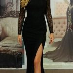 Siyah Elbise Kombinleri 2019 Abiye Modelleri siyah renkli uzun yırtmaçlı sade model