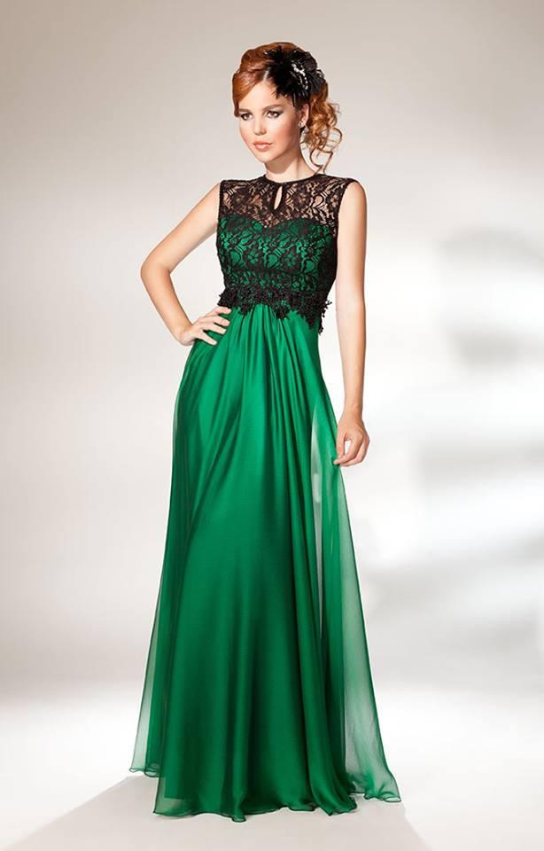 Abiye Modelleri yeşil renkli üst kısmı güpür altı kumaş