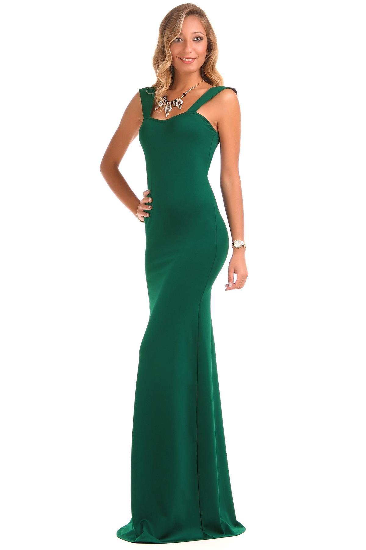 Abiye Modelleri yeşil renkli uzun asimetrik model