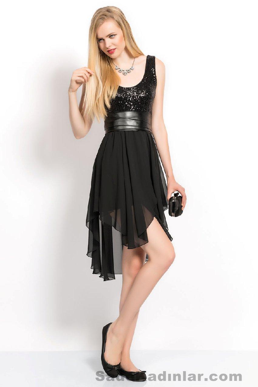 Abiye modelleri 2021 Kısa Gece Elbiseleri siyah kısa atlet askılı belinden deri kemerli model