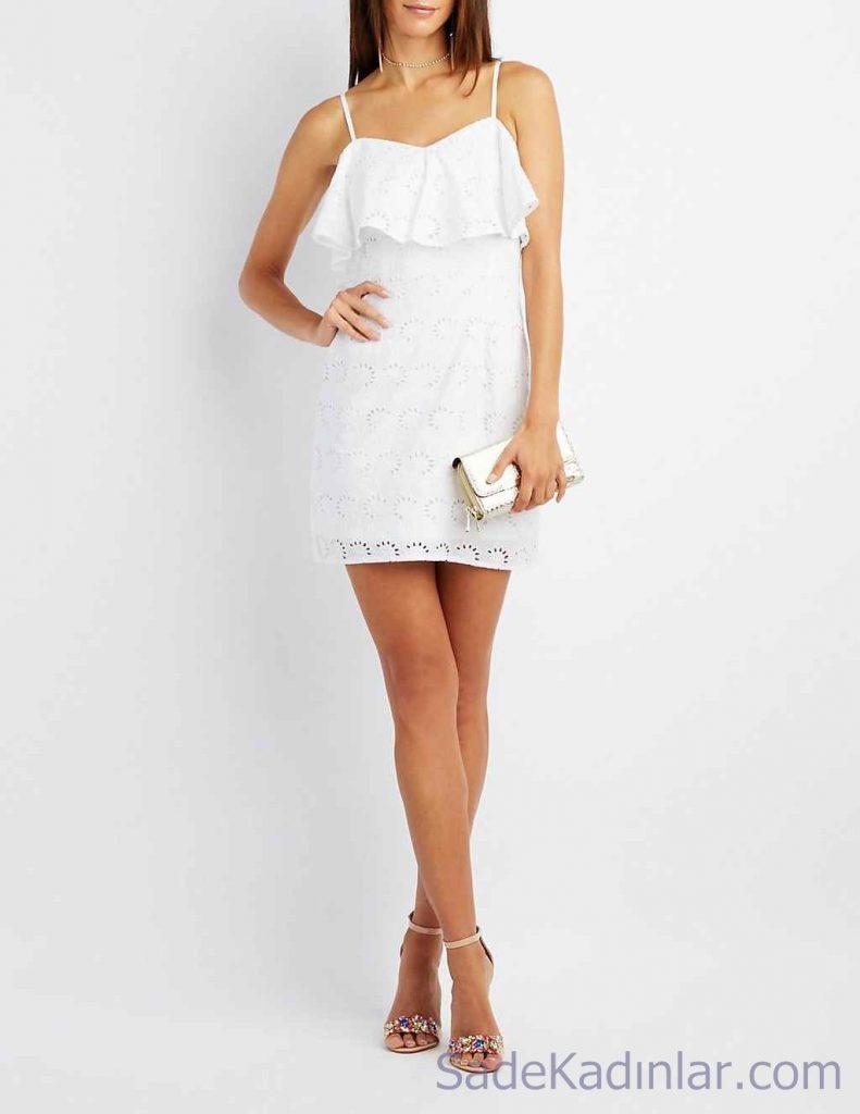 Beyaz Dantelli Elbise Yazlık Elbise En Şık Kısa Elbise Modelleri 2020